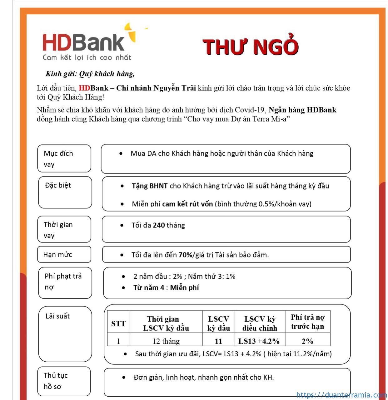 Chính sách vay Terra Mia HD Bank Tháng 11.2020