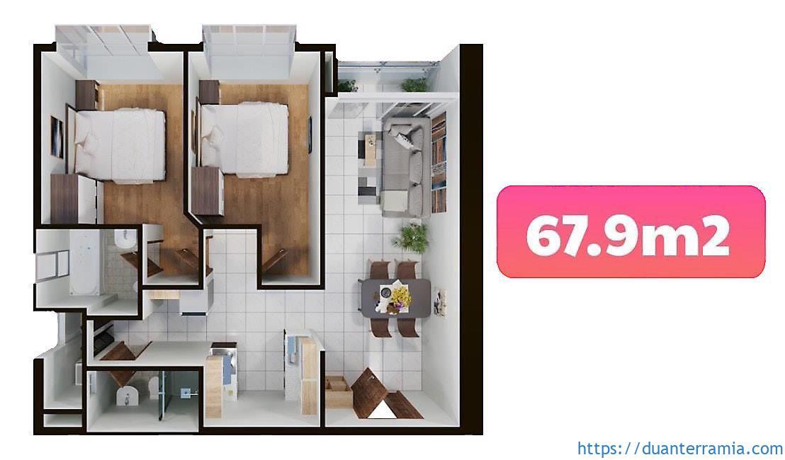 Terra Mia căn hộ Loại B1 - 67.9m2