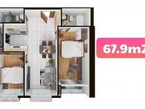 Terra MiA – Review căn hộ Loại B – DT 67.9m2 Hướng sông view thành phố
